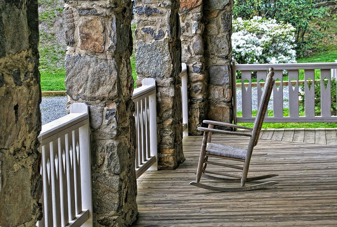 Rocking chair on cozy porch